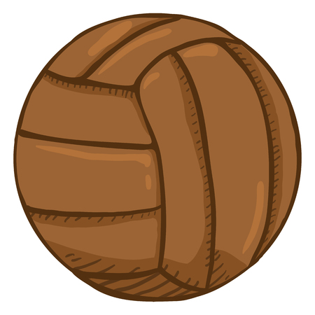 Vector Cartoon Brown Old Fashioned Leather Volleyball Ball