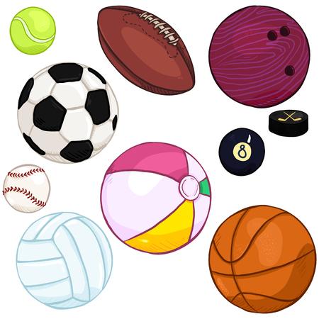 Vector Cartoon Color Set of Sport Balls Illustration