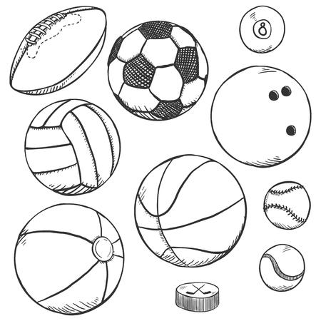 Vector Pencil Sketch Set of Sport Balls Illustration