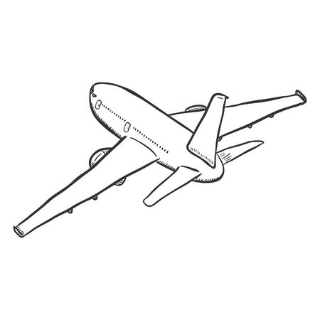 Samolot czarny szkic wektor. Startujący samolot pasażerski.