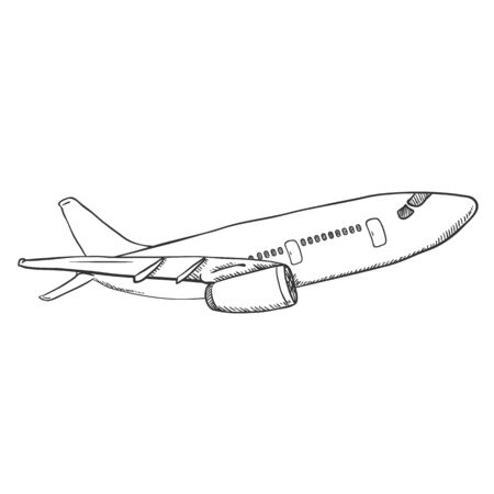 Vector Black Sketch Airplane. Hand Drawn Civil Plane. Side View.