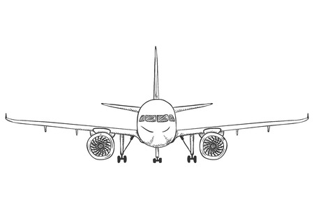 Vector Black Sketch Airplane with Chassis. Front View Aeroplane. Hand Drawn Plane.