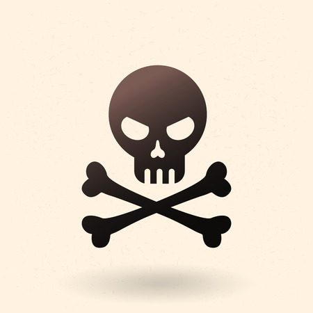 Vector Black Icon - Skull with Crossed Bones. Pirates Symbol. Vettoriali