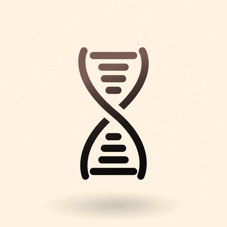 A Vector Black Silhouette DNA Icon. Deoxyribonucleic Acid Symbol 일러스트