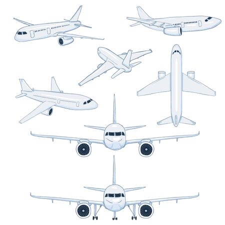 Set of vector white silhouette passenger planes on blue background. Commercial and civil aviation. Illustration