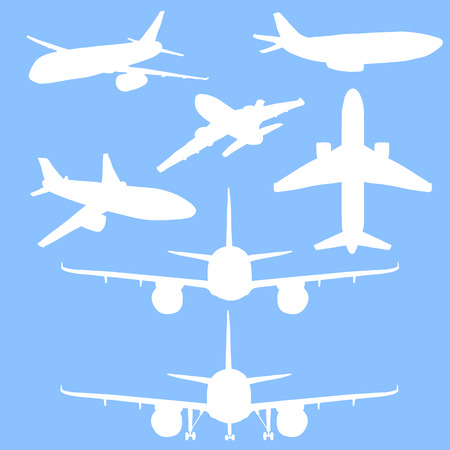 Set of white vector silhouette passenger planes on blue background. Commercial and civil aviation.