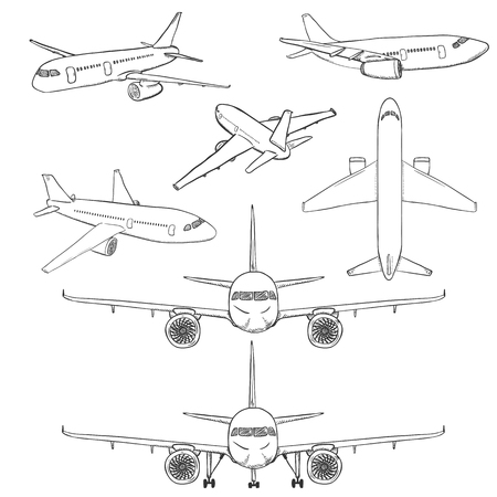 Set of sketch airplanes, civil aviation aircraft. Side, front, back and top view. Illustration