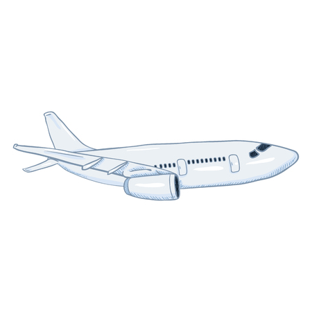 Cartoon vector white passenger airplane. Commercial aviation aircraft bottom view.