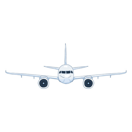 Cartoon vector white passenger airplane with chassis. Commercial aviation aircraft front view.