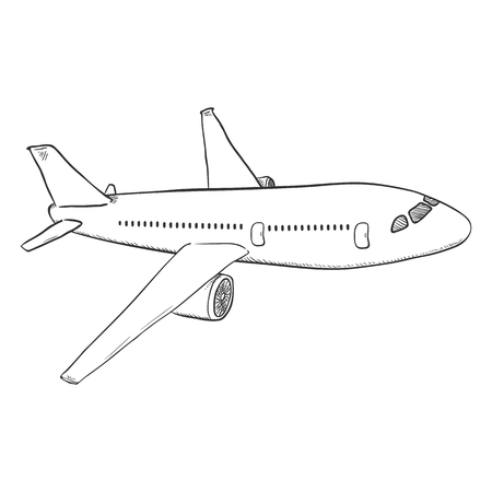 Sketch passenger airplane, commercial aviation aircraft, bottom view vector. Illustration