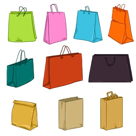 Vector Cartoon Set of Color Paper and Plastic Shopping Bags