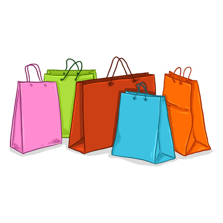 Groupe de dessin animé de vecteur de sacs à provisions en plastique colorés