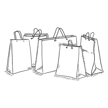 Vector Sketch Set of Shopping Bags in a Row Illustration