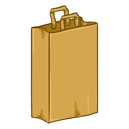 Vector Cartoon Brown Paper Bag for Grocery Shopping