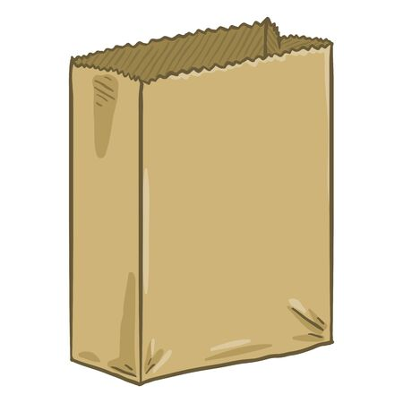 Vector Cartoon Empty Brown Paper Bag for Grocery Purchasing