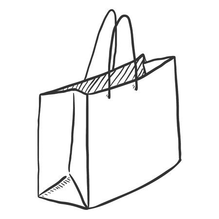 Vector Single Sketch Shopping Bag on Isolated White Background