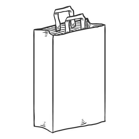 Vector Single Sketch Paper Bag for Grocery Shopping
