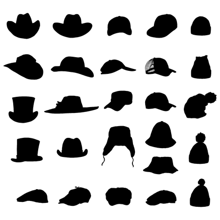 A Vector Set of Black Silhouette of Hats and Caps