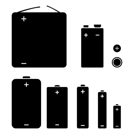 Set of black silhouette vector icons of different types batteries.