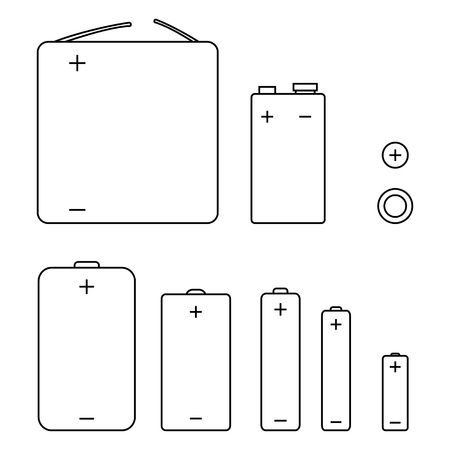 Set of black outline vector icons of different types batteries.