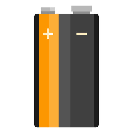 Flat color vector icon of PP3 type battery.