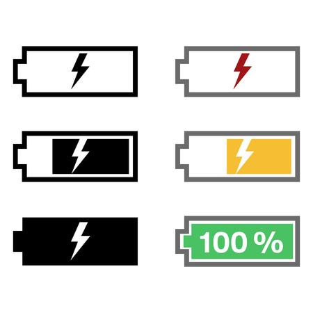 Set of battery charging vector icons, levels of energy. Vektoros illusztráció