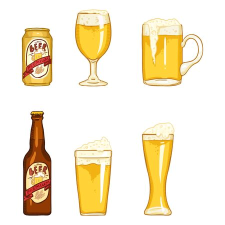 Vector Cartoon Set of Beer Glasses, Bottle and Can. Light Beer