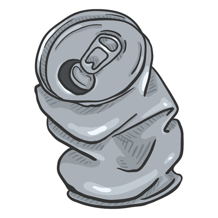 Vector Cartoon Crumpled Beer Can on Isolated White Background