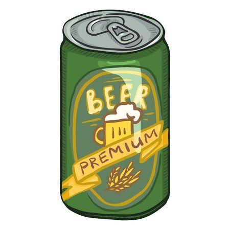 Vector Cartoon Green Aluminium Can of Premium Beer