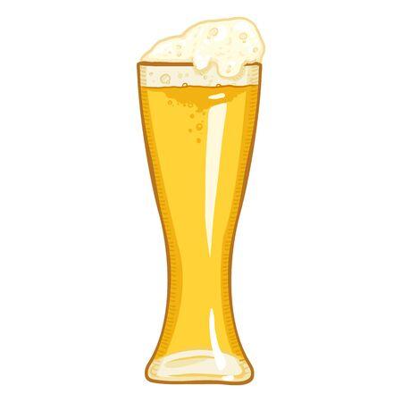 Vector Cartoon Glass of Light Beer with Foam