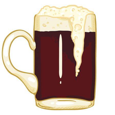 Vector Cartoon Glass of Dark Beer with Foam