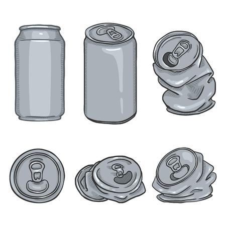 Vector Cartoon Set of Blank Gray Aluminium Can Illustrations
