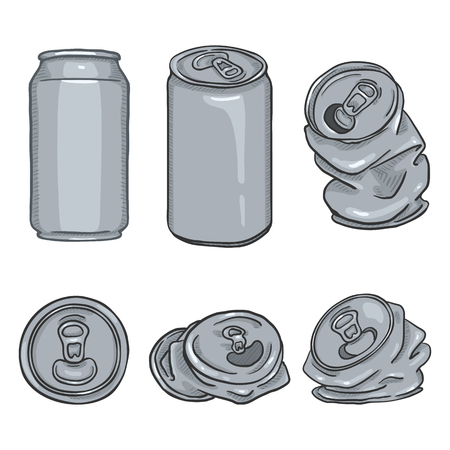 Vector Cartoon Set of Blank Gray Aluminium Can Illustrations