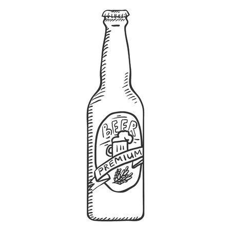 Vector Single Sketch Glass Bottle of Premium Beer