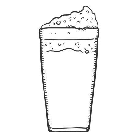 Vecteur verre simple verre de bière avec de la mousse Banque d'images - 99088924