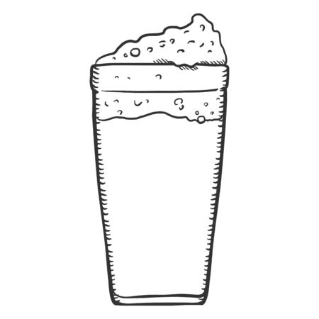 Vector Single Sketch Glass of Beer with Foam