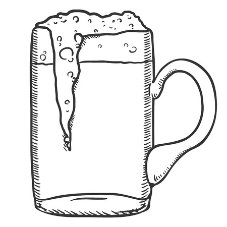 Vector Single Sketch Glass of Beer with Foam