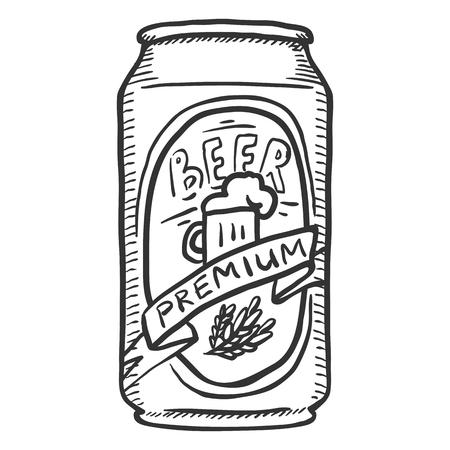 Vector Single Sketch Can of Premium Beer Illustration