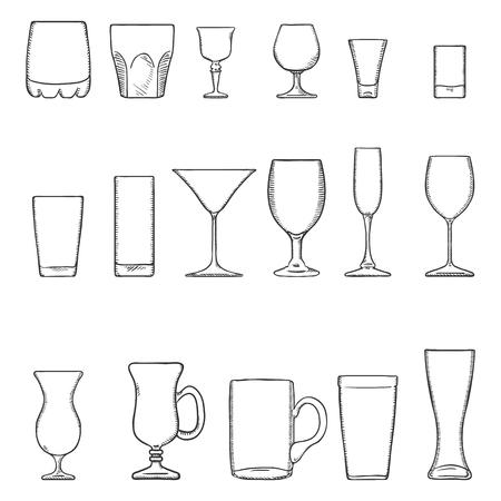 Vector Set of Sketch Stemware. Glasses for Alcohol, Cocktails and Soft Drink