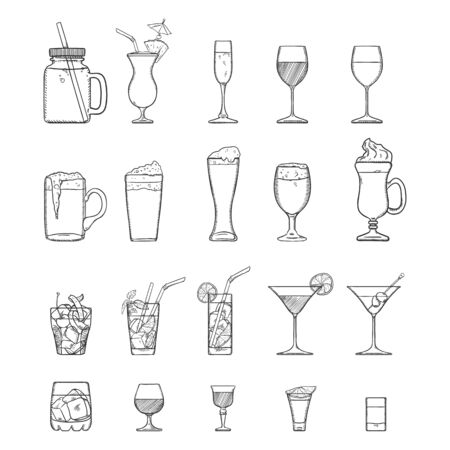 Vector Sketch Set of Alcohol and Soft Drinks, Liquors, Cocktails.
