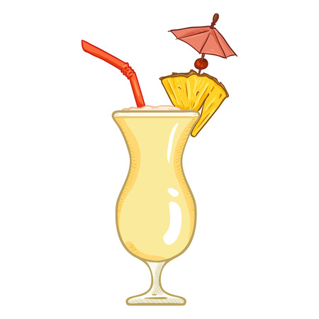 Vector Cartoon Illustration - Glass of Pina Colada with Drinking Straw, Cocktail Umbrella and Pineapple Illustration