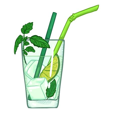 Vector Cartoon Illustration, Glass of Mojito with Straws, Ice, Lime and Mint.