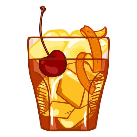 Vector Cartoon Illustration - Old Fashioned Cocktail with Cherry , Ice Rocks and Orange Peel Ilustração
