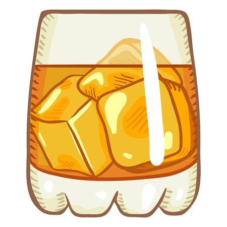 Vector Cartoon Illustration - Glass of Whiskey with Ice Rocks 向量圖像