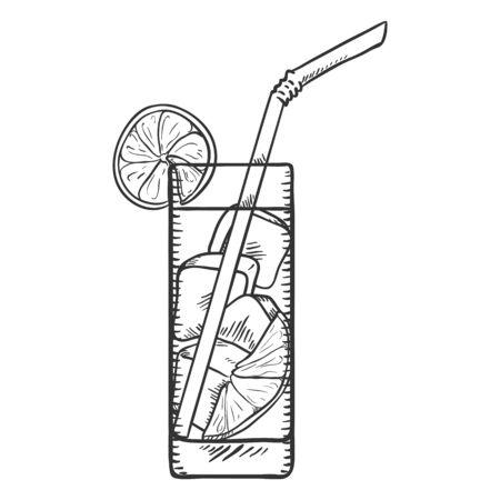 Vector Sketch Illustration - Glass of Lemonade with Lemon Slice, Ice and Drinking Straw 向量圖像