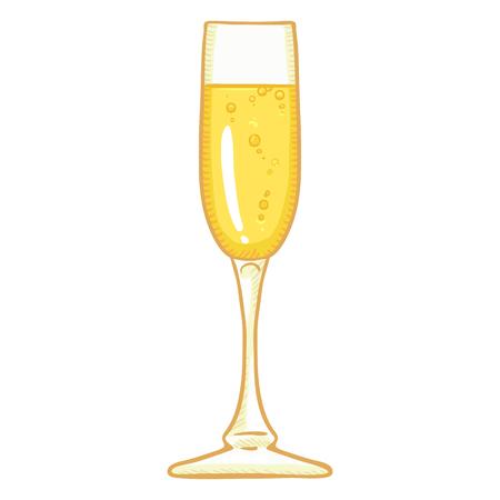 Vector Cartoon Illustration - Long Glass of Champagne Stok Fotoğraf - 99617382