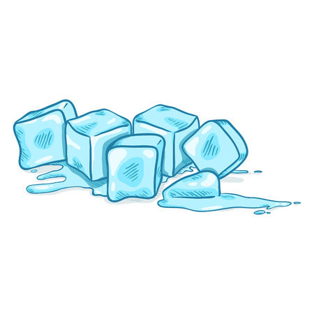 Vector Cartoon Illustration - Blue Ice Cubes Melting