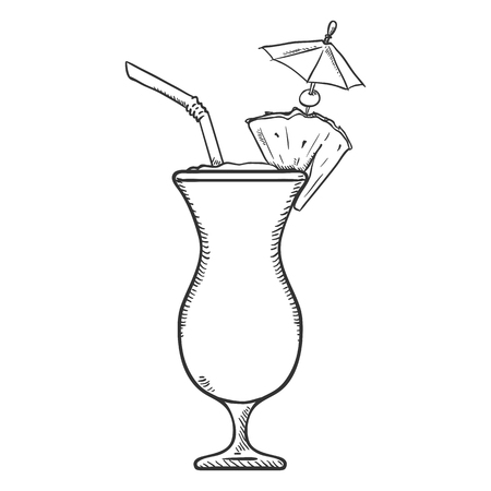 Vector Sketch Illustration - Glass of Pina Colada with Drinking Straw, Cocktail Umbrella and Pineapple Ilustração