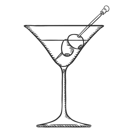 Vector Sketch Illustration - Cocktail Glass With Martini and Olives