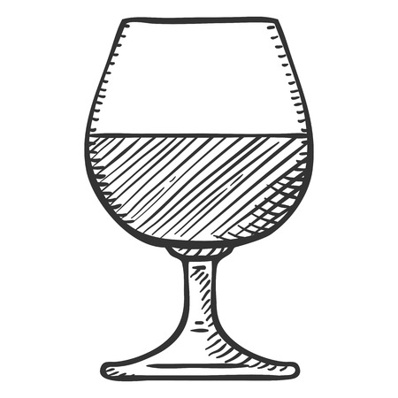 Vector Isolated Sketch Illustration - Glass with Cognac